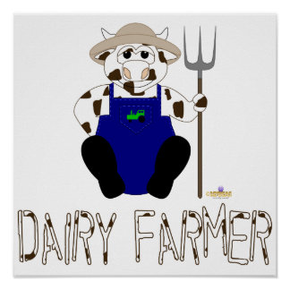 Brown And White Farmer Cow Brown White Dairy Farme Poster