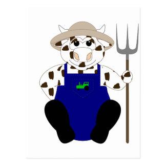 Brown And White Farmer Cow Postcard