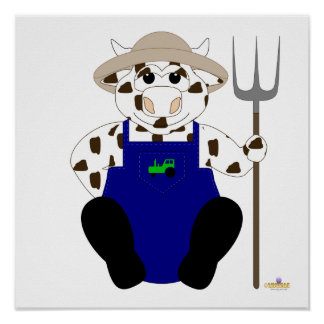 Brown And White Farmer Cow Poster