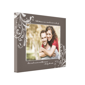 Brown and White Floral Photo Template Picture Canvas Print