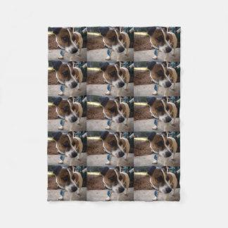 Brown And White Fox Miniature Terrier, Fleece Blanket