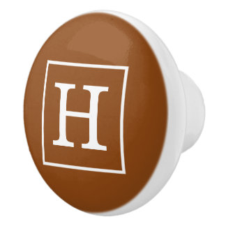 Brown and White Framed Initial Monogram <br> </br> Ceramic Knob