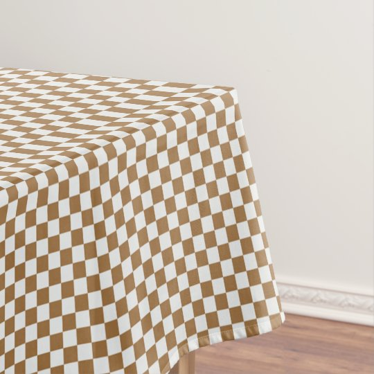 Brown And White Gingham Chequered Tablecloth