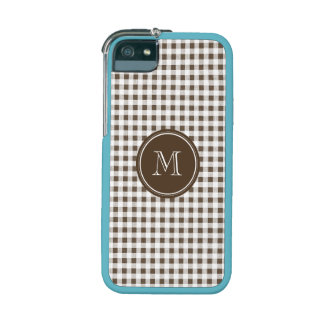 Brown and White Gingham, Your Monogram iPhone 5 Case