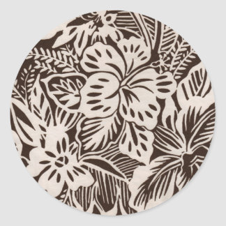 Brown and White Hibiscus Classic Round Sticker