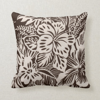 Brown and White Hibiscus Cushion