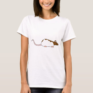 Brown and White Hooded Pet Rat. T-Shirt