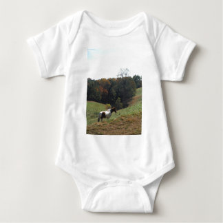 Brown and white horse at autumn pond t shirts