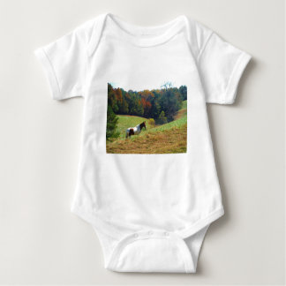Brown and white horse by autumn trees t-shirt