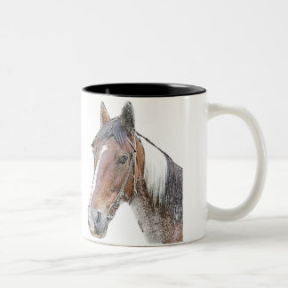 Brown and White Horse Two-Tone Mug