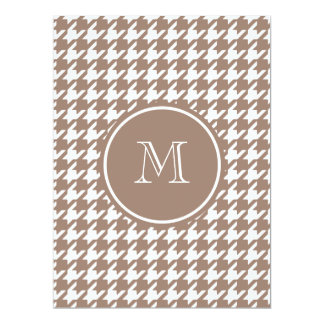 "Brown and White Houndstooth Your Monogram 6.5"" X 8.75"" Invitation Card"