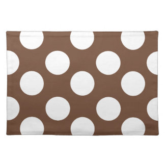 Brown and White Large Polka Dot Placemat