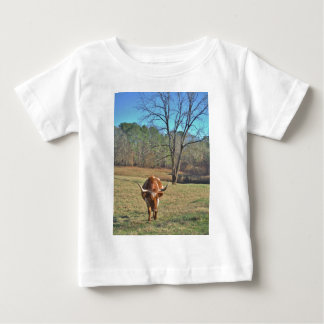 Brown and White Longhorn Bull Blue Sky T-shirts