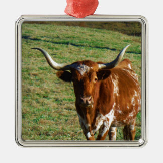 Brown and White Longhorn Bull Christmas Ornament