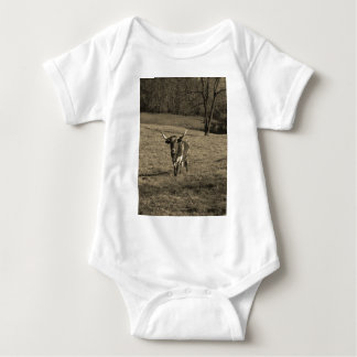 Brown and White Longhorn Bull Sepia Tone Baby Bodysuit