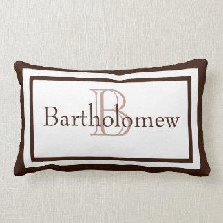 Brown and White Monogram Name Keepsake Pillow