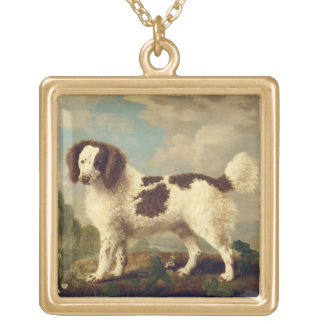 Brown and White Norfolk or Water Spaniel, 1778 (oi Square Pendant Necklace
