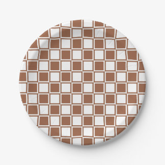 Brown and White Outlined Squares Paper Plate