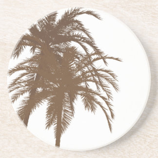 Brown and White Palm Trees Beverage Coasters