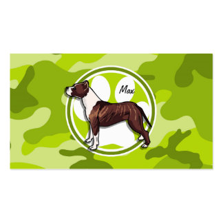 Brown and White Pit bright green camo camouflage Business Card