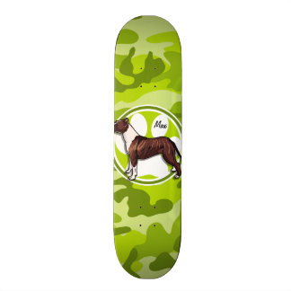 Brown and White Pit bright green camo camouflage Skate Boards