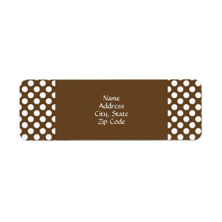 Brown and White Polka Dot Return Address Label