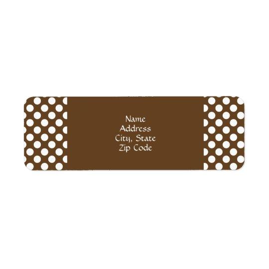 Brown and White Polka Dot Return Address Label