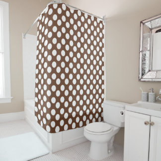 Brown and White Polka Dot Shower Curtain