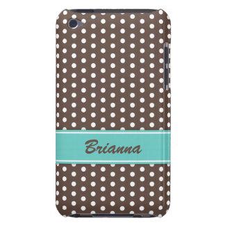 Brown and white polka dots iPod case aqua sea blue iPod Case-Mate Case