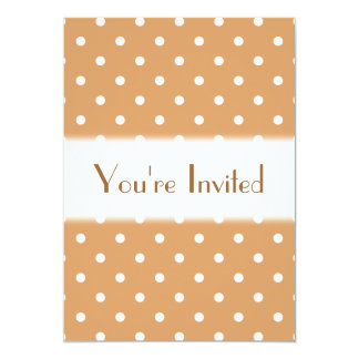 Brown and White Polka Dots Pattern. 13 Cm X 18 Cm Invitation Card