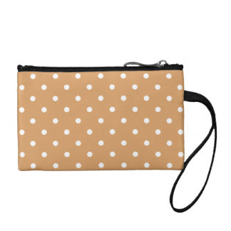 Brown and White Polka Dots Pattern. Coin Purse
