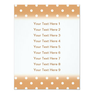 Brown and White Polka Dots Pattern. 11 Cm X 14 Cm Invitation Card