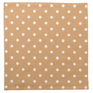 Brown and White Polka Dots Pattern. Printed Napkin