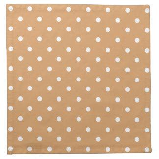 Brown and White Polka Dots Pattern. Printed Napkin