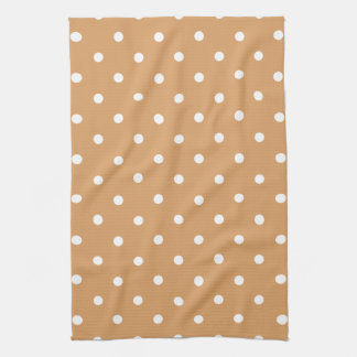 Brown and White Polka Dots Pattern. Tea Towel