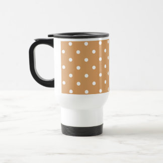 Brown and White Polka Dots Pattern. Travel Mug