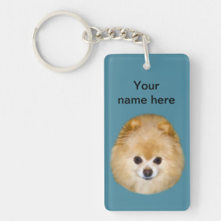 Brown and White Pomeranian Dog Double-Sided Rectangular Acrylic Key Ring