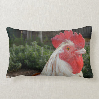 Brown And White Proud Rooster, Lumbar Cushion. Lumbar Cushion