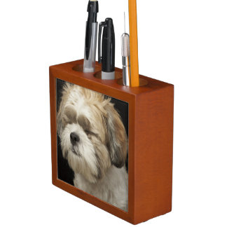 Brown and white Shih Tzu with eyes closed Desk Organisers