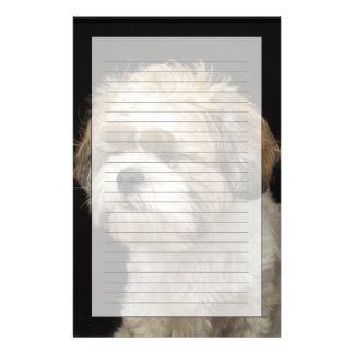 Brown and white Shih Tzu with eyes closed Stationery Design