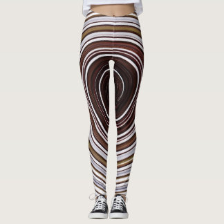 Brown and white spiral leggings