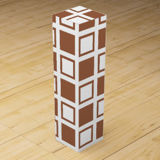Brown and White Squares Wine Gift Box