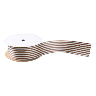 Brown and White Stripes Satin Ribbon