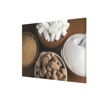 Brown and white sugars in cubes and powder gallery wrapped canvas