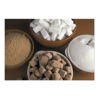 Brown and white sugars in cubes and powder photograph