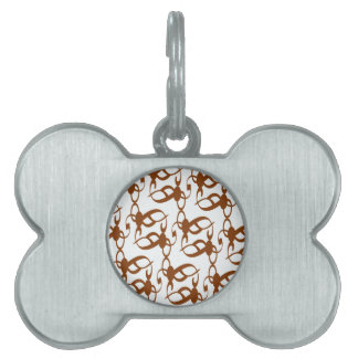 Brown and White Tribal Lace Pet ID Tag