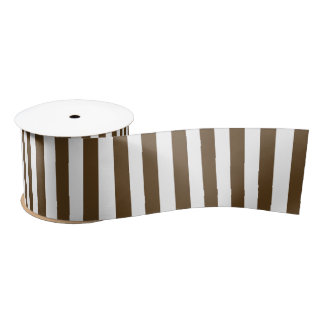 Brown and White Vertical Stripes Satin Ribbon