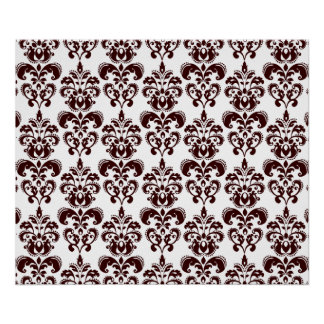 BROWN AND WHITE VINTAGE DAMASK PATTERN 2 POSTERS