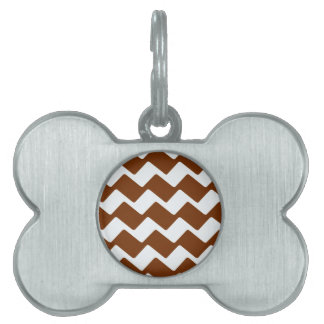 Brown and White Wavy Chevrons Pet ID Tag