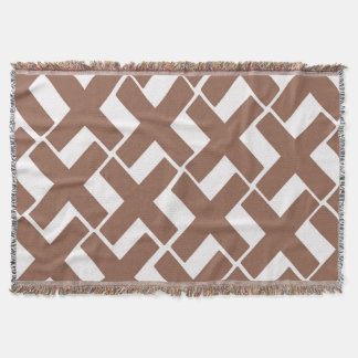 Brown and White Xs Throw Blanket